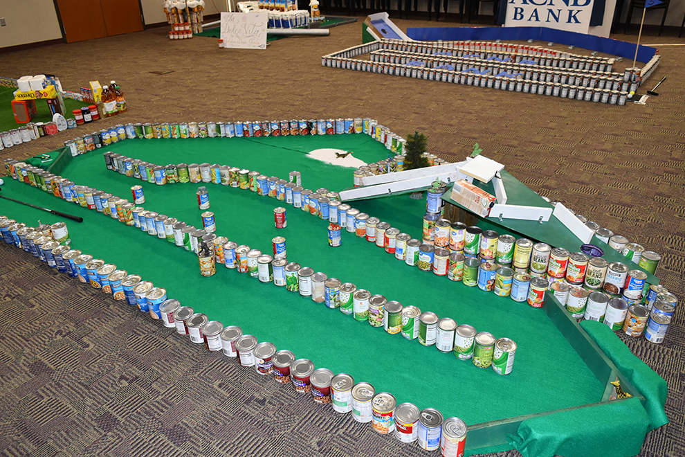 Golf course made from cans