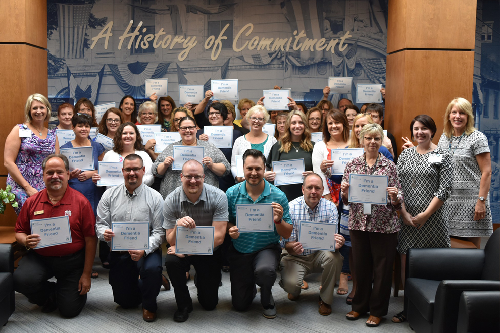 ACNB Bank staff display dementia friends certificates