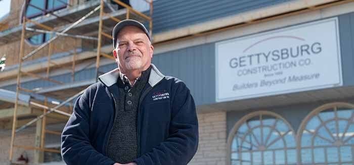 Dave Lamberson in front of Gettysburg Construction
